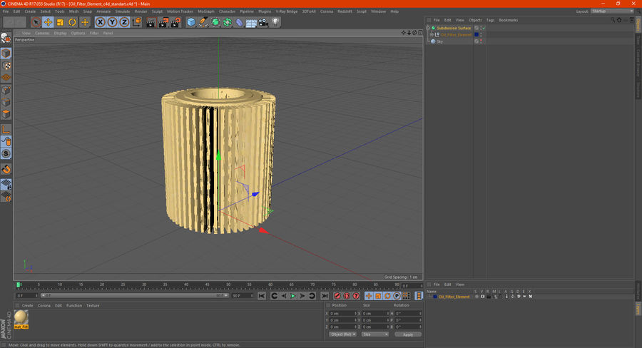 Oil Filter Element royalty-free 3d model - Preview no. 16