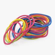 Pilha de faixas de borracha coloridas 3d model