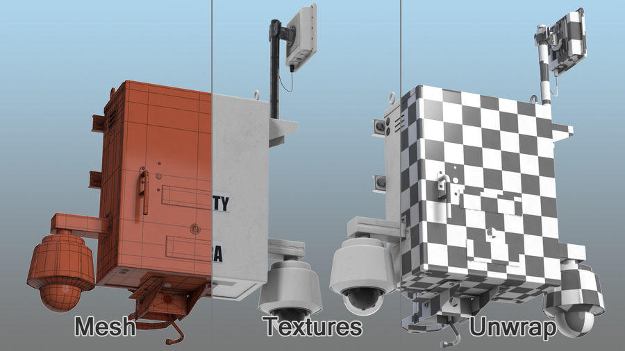 Street CCTV Surveillance Cameras royalty-free 3d model - Preview no. 18