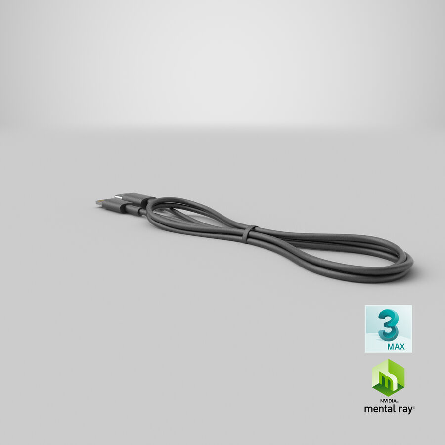 USB Type-C to Lightning Cable Black royalty-free 3d model - Preview no. 32