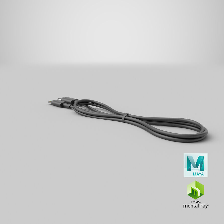 USB Type-C to Lightning Cable Black royalty-free 3d model - Preview no. 35