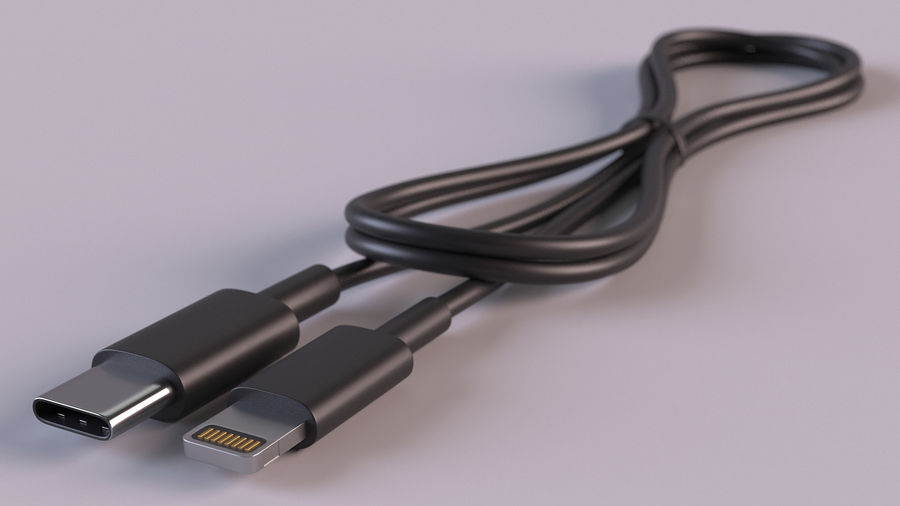 USB Type-C to Lightning Cable Black royalty-free 3d model - Preview no. 4