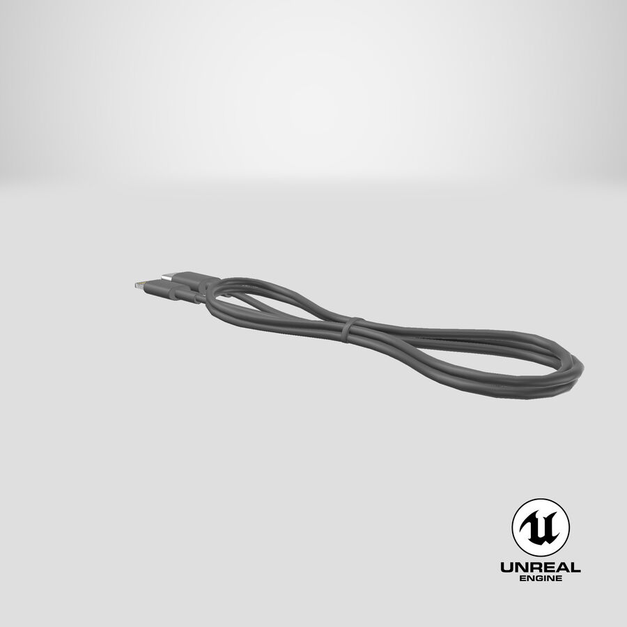 USB Type-C to Lightning Cable Black royalty-free 3d model - Preview no. 30