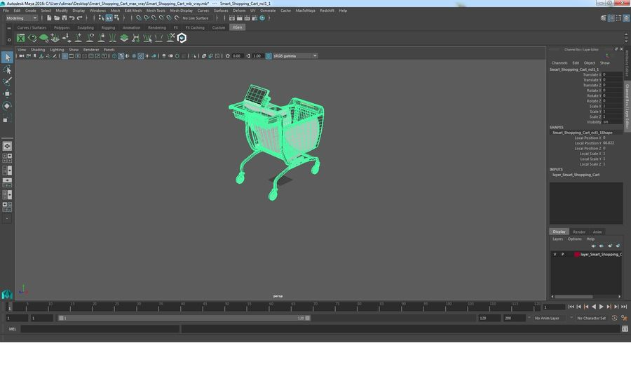 Smart Shopping Cart royalty-free 3d model - Preview no. 25