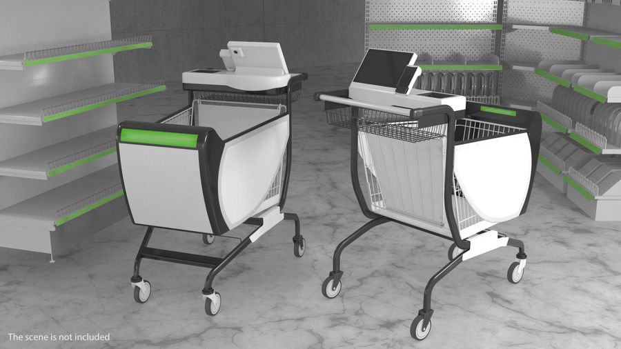 Smart Shopping Cart royalty-free 3d model - Preview no. 3
