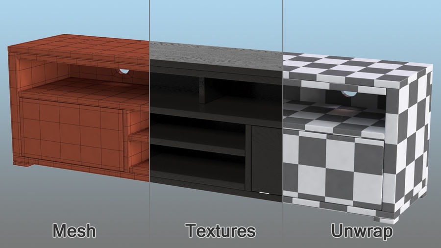 TV Stand Black royalty-free 3d model - Preview no. 10