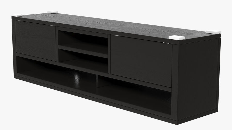 TV Stand Black royalty-free 3d model - Preview no. 4