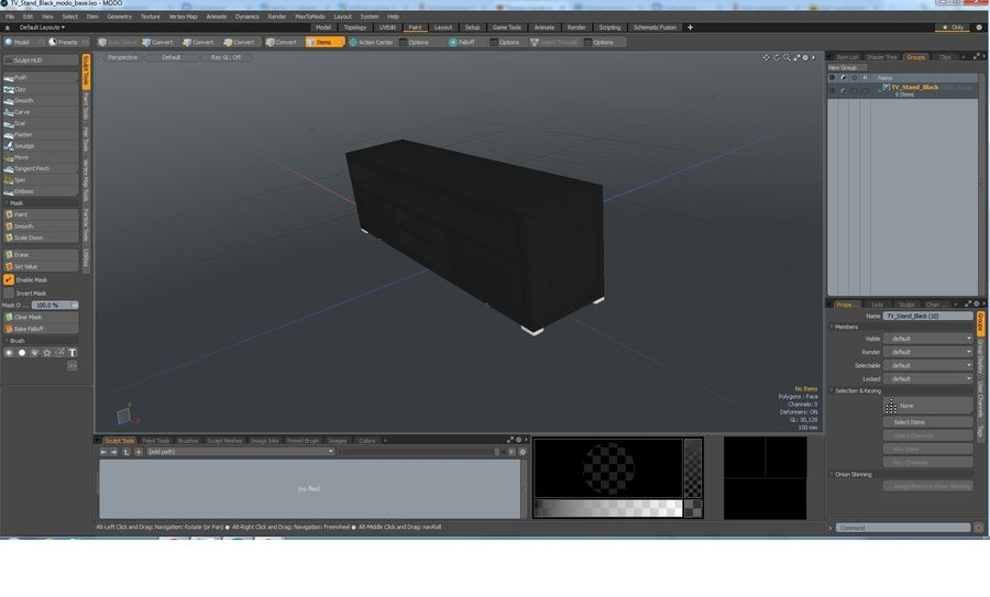 TV Stand Black royalty-free 3d model - Preview no. 22