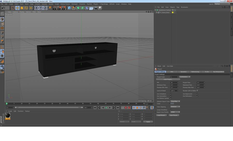 TV Stand Black royalty-free 3d model - Preview no. 24