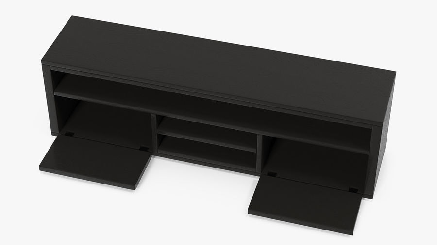 TV Stand Black royalty-free 3d model - Preview no. 6