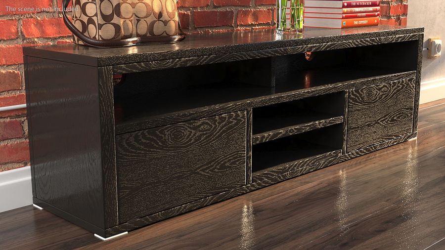 TV Stand Black royalty-free 3d model - Preview no. 3
