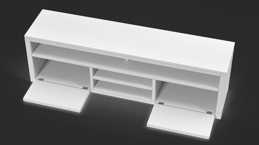 TV Stand White royalty-free 3d model - Preview no. 4