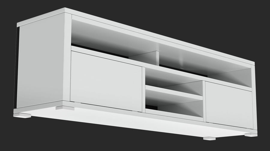 TV Stand White royalty-free 3d model - Preview no. 6