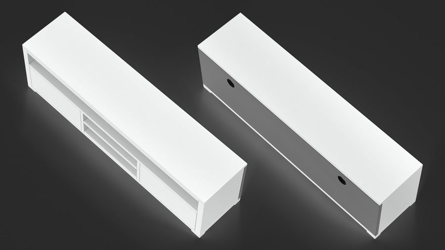 TV Stand White royalty-free 3d model - Preview no. 5