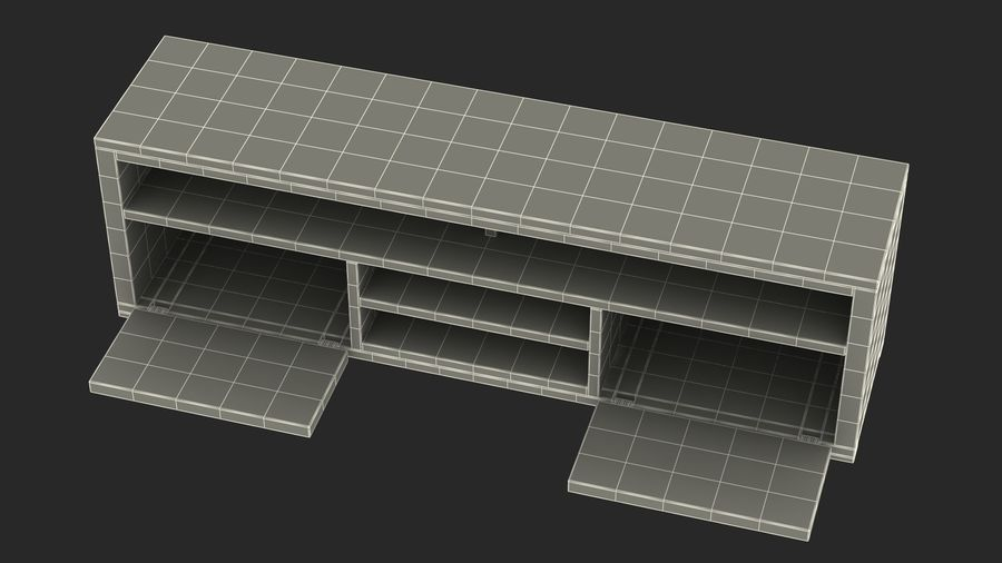 TV Stand White royalty-free 3d model - Preview no. 1