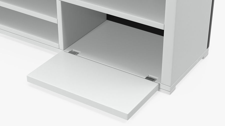 TV Stand White royalty-free 3d model - Preview no. 7
