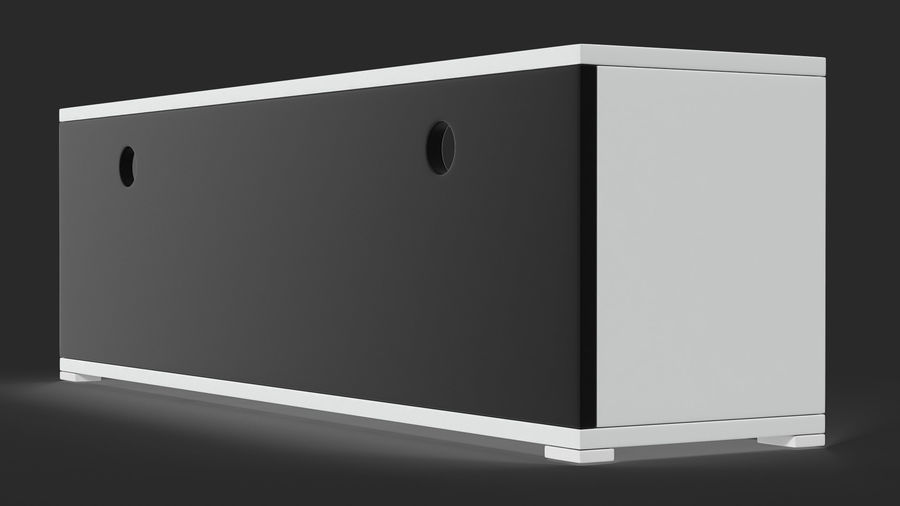 TV Stand White royalty-free 3d model - Preview no. 8