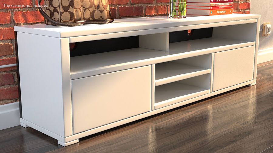 TV Stand White royalty-free 3d model - Preview no. 3