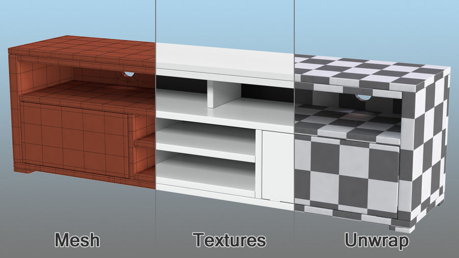 TV Stand White royalty-free 3d model - Preview no. 10