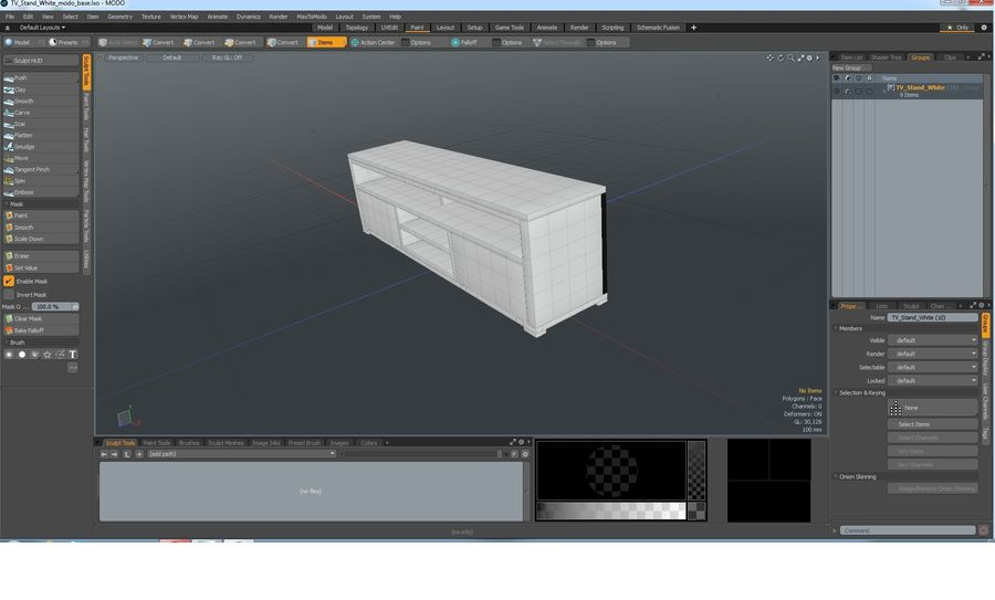 TV Stand White royalty-free 3d model - Preview no. 24