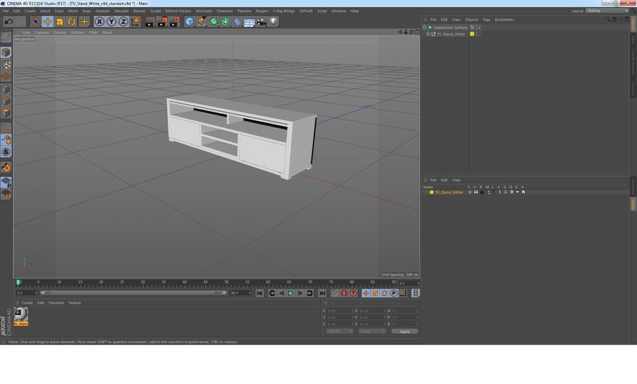 TV Stand White royalty-free 3d model - Preview no. 22