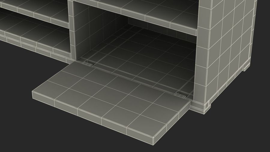 TV Stand White royalty-free 3d model - Preview no. 2