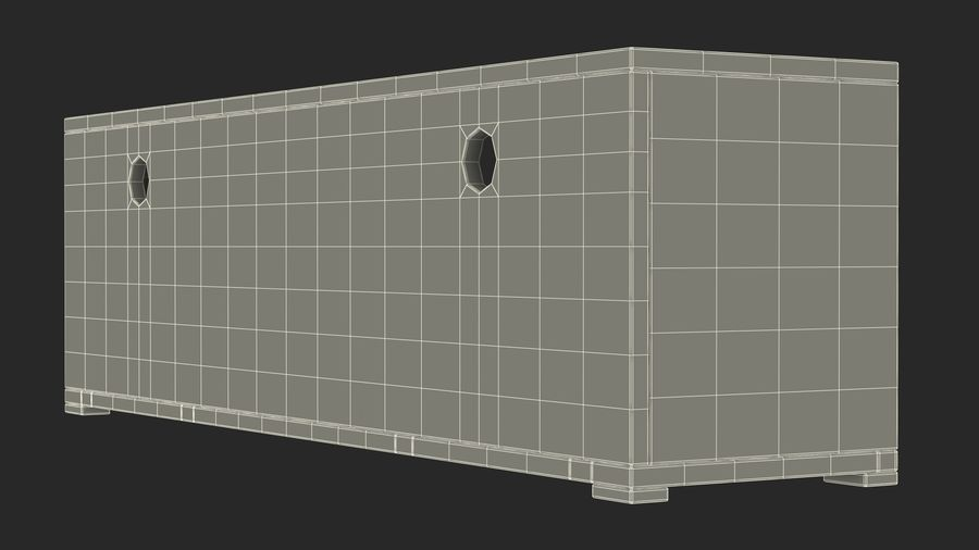 Wooden TV Stand royalty-free 3d model - Preview no. 20