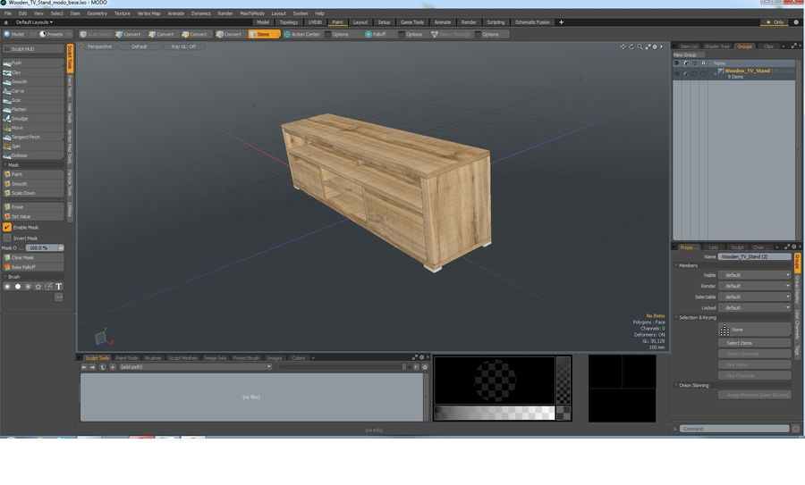 Wooden TV Stand royalty-free 3d model - Preview no. 24