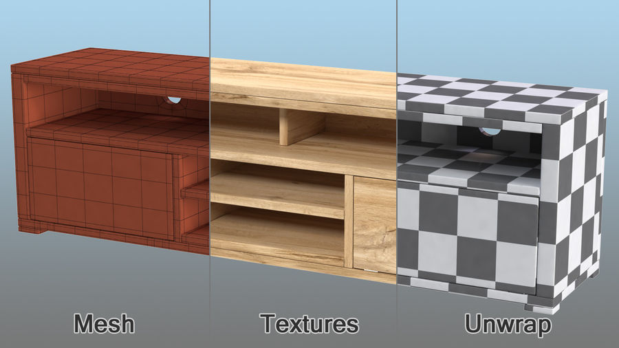 Wooden TV Stand royalty-free 3d model - Preview no. 10