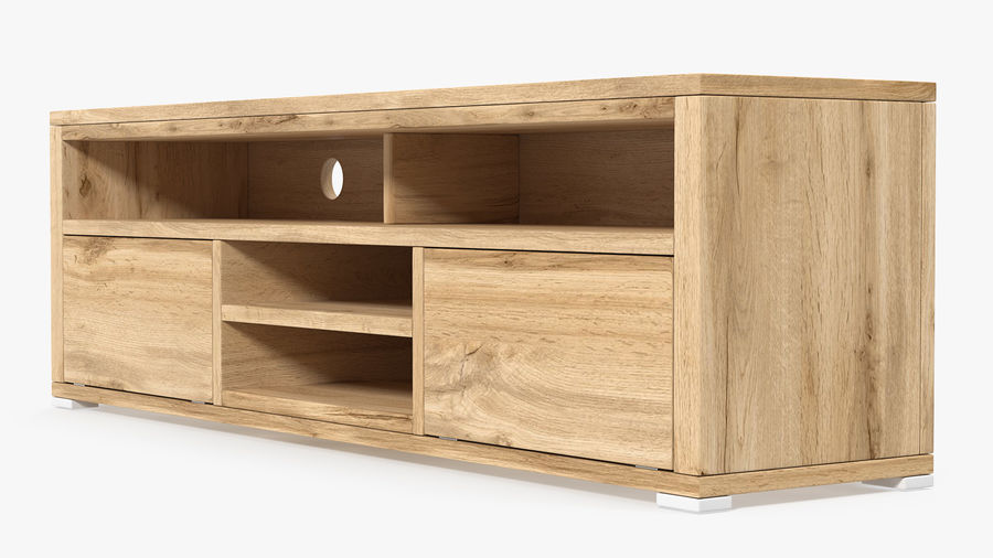 Wooden TV Stand royalty-free 3d model - Preview no. 2