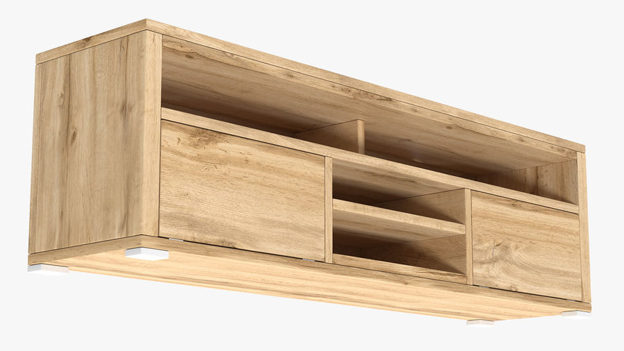 Wooden TV Stand royalty-free 3d model - Preview no. 6