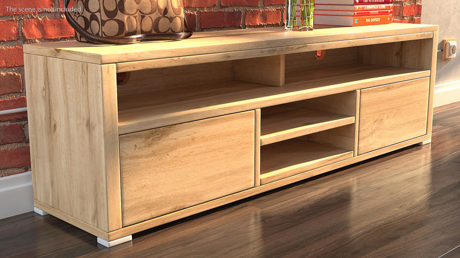Wooden TV Stand royalty-free 3d model - Preview no. 3