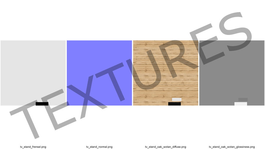Wooden TV Stand royalty-free 3d model - Preview no. 14