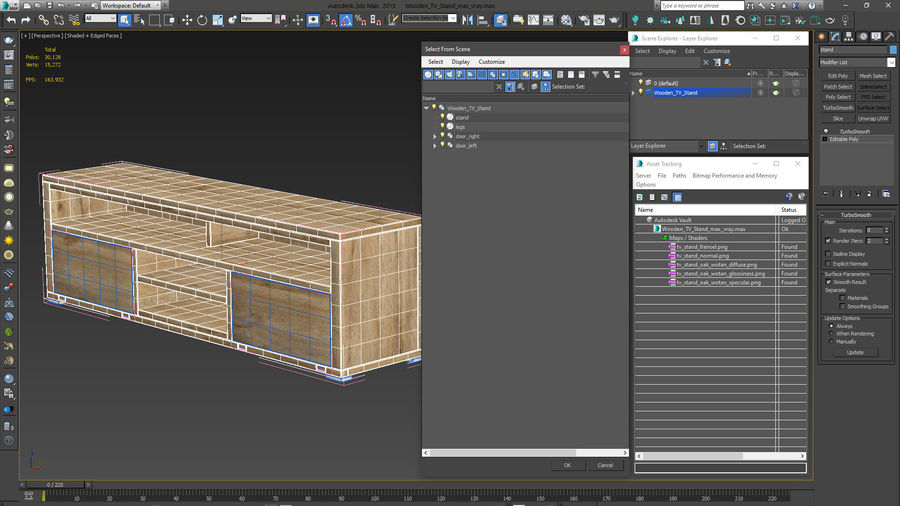 Wooden TV Stand royalty-free 3d model - Preview no. 15