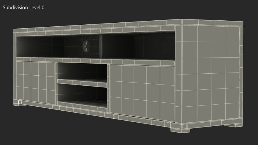 Wooden TV Stand royalty-free 3d model - Preview no. 11