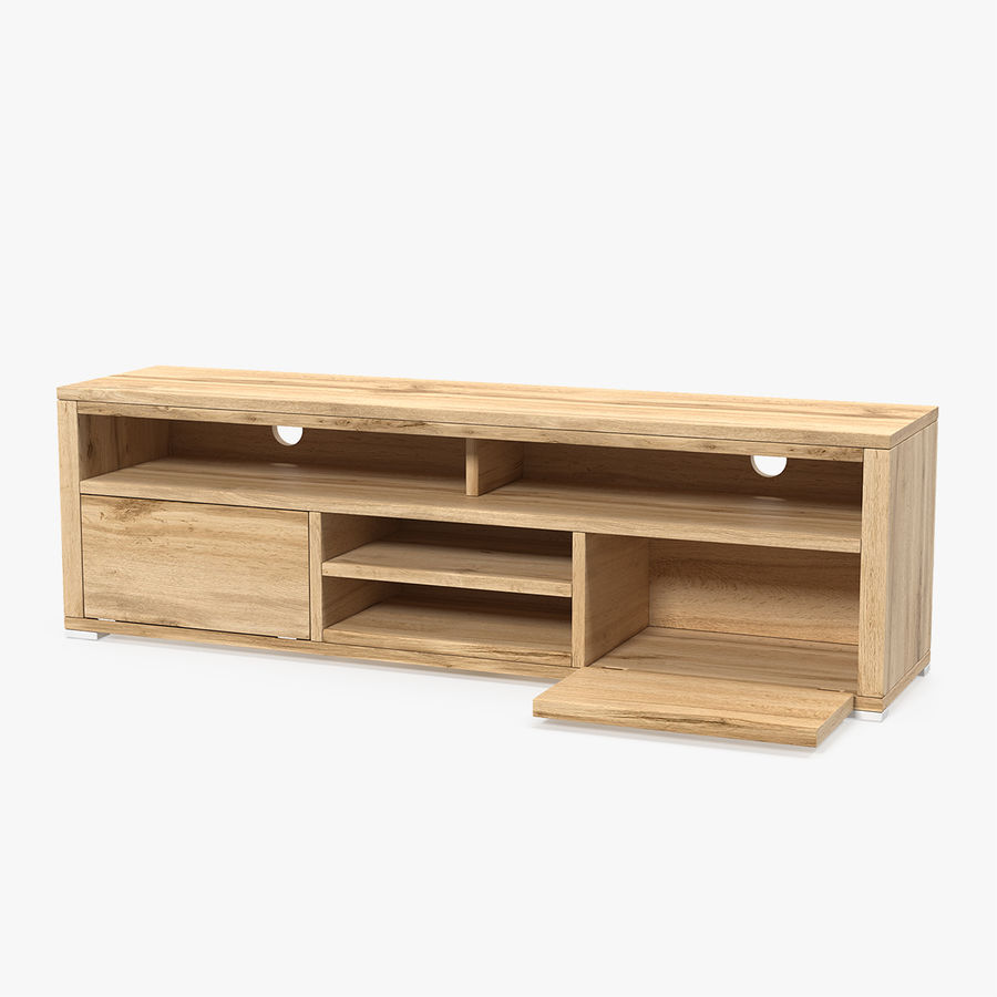 Wooden TV Stand royalty-free 3d model - Preview no. 1
