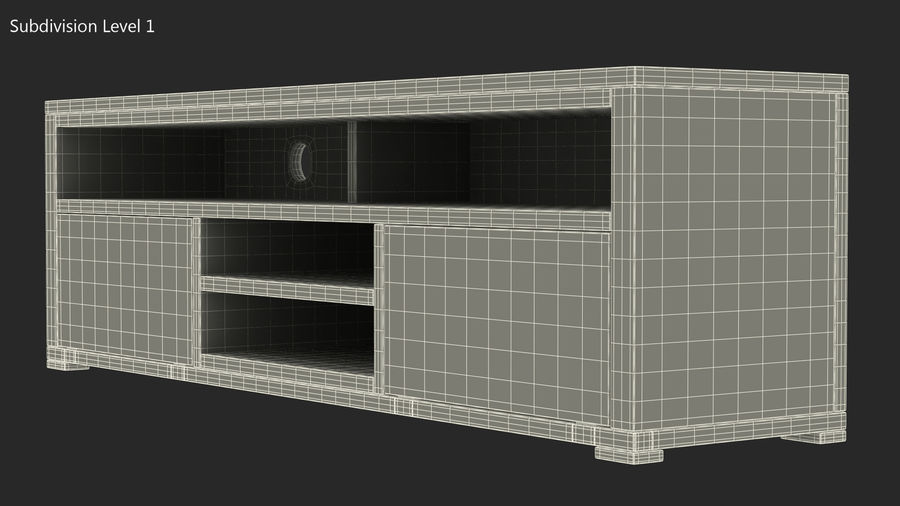 Wooden TV Stand royalty-free 3d model - Preview no. 12