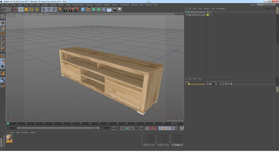 Wooden TV Stand royalty-free 3d model - Preview no. 22