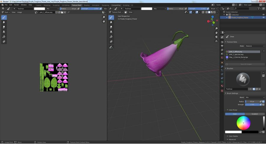 Purple Foxglove Flower royalty-free 3d model - Preview no. 18