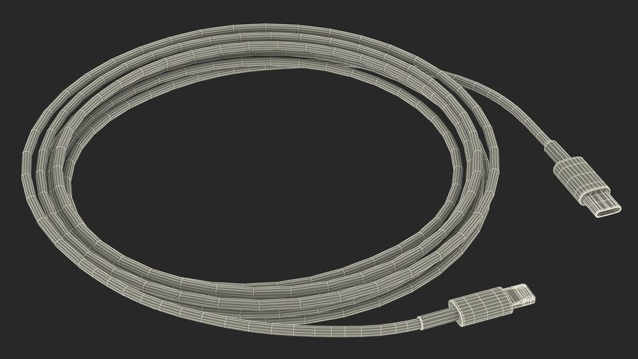 USB Type-C to Lightning Cable royalty-free 3d model - Preview no. 24