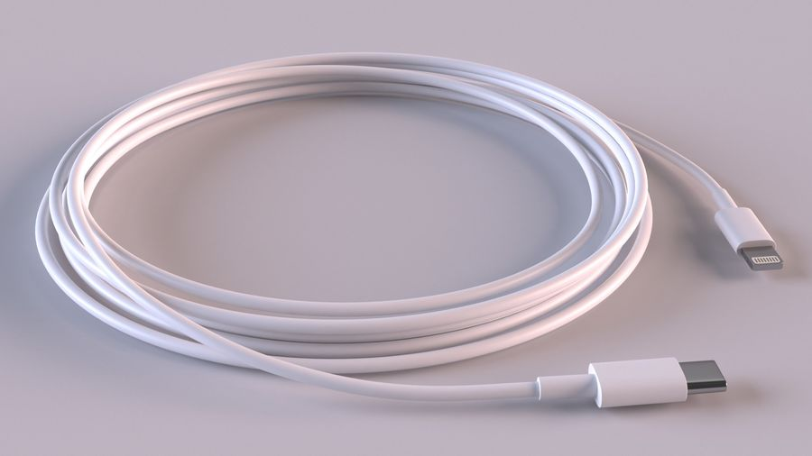 USB Type-C to Lightning Cable royalty-free 3d model - Preview no. 4