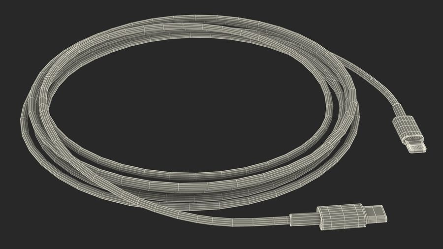 USB Type-C to Lightning Cable royalty-free 3d model - Preview no. 22