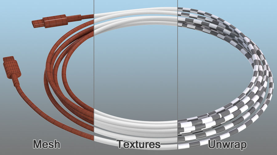USB Type-C to Lightning Cable royalty-free 3d model - Preview no. 11