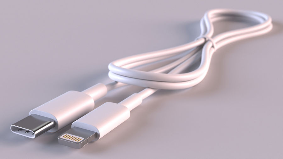 USB Type-C to Lightning Cable Folded royalty-free 3d model - Preview no. 4