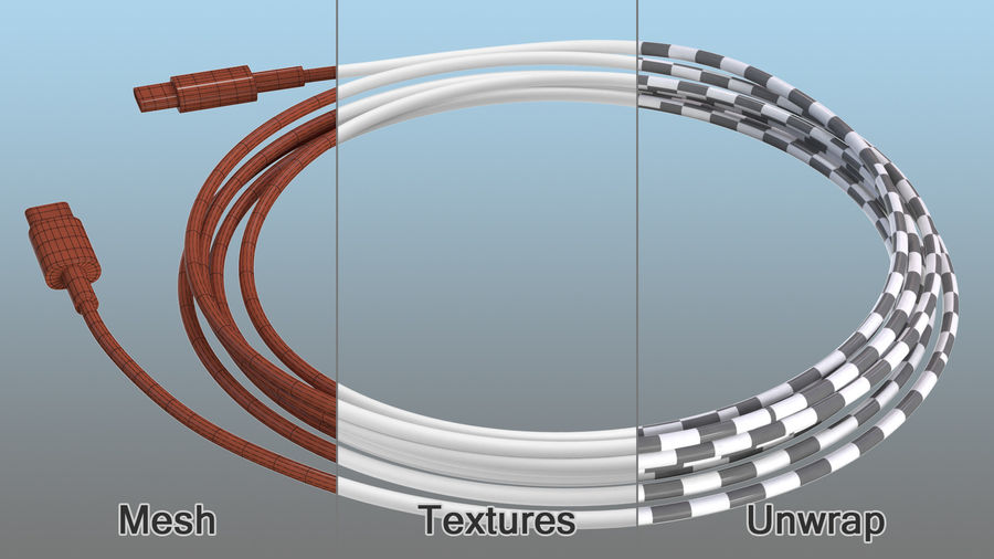 USB Type-C to Type-C Cable royalty-free 3d model - Preview no. 11
