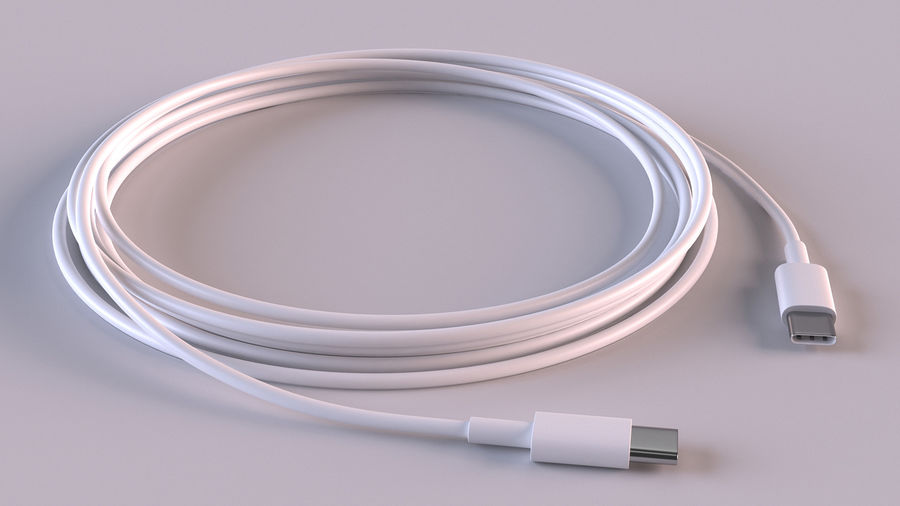 USB Type-C to Type-C Cable royalty-free 3d model - Preview no. 4