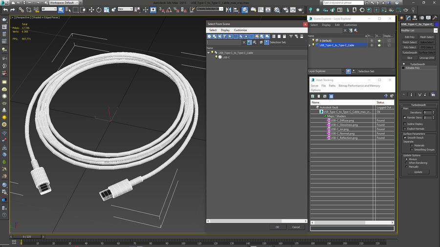 USB Type-C to Type-C Cable royalty-free 3d model - Preview no. 16