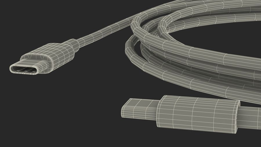 USB Type-C to Type-C Cable royalty-free 3d model - Preview no. 22