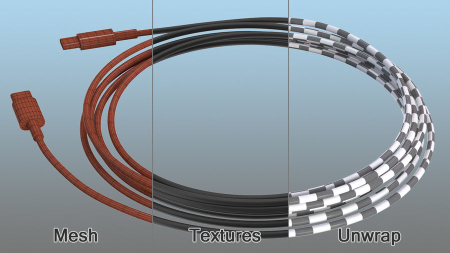 USB Type-C to Type-C Cable Black royalty-free 3d model - Preview no. 11