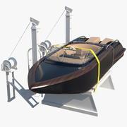 ボートクレーン持ち上げモーターボート 3d model